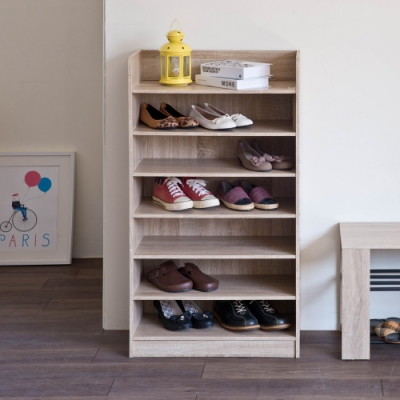 TZUMii艾拉開放式七層鞋櫃-淺橡木色60*30*110.5cm