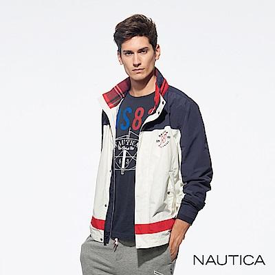 Nautica經典款防風休閒外套-紅白