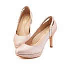 TAS後鏤空方鑽曲線金蔥高跟鞋-華麗粉