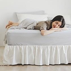 翔仔居家 新疆水洗棉 加大 素色下床裙/床罩 (2色可選)