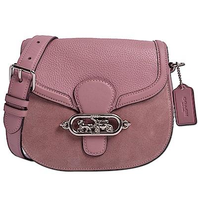 COACH 經典立體馬車LOGO精緻皮革拼接和絨面斜背包/馬鞍包-藕紫粉