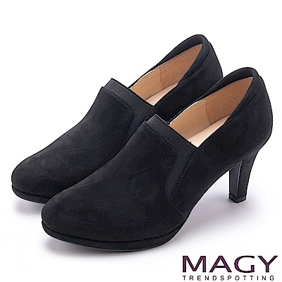 MAGY 紐約時尚步調 親膚防磨復古絨布跟鞋-黑色