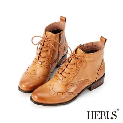 HERLS短靴-歐洲進口牛皮翼紋雕花沖孔牛津靴綁帶短靴-焦糖棕