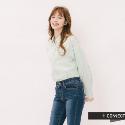 H:CONNECT 韓國品牌 女裝 - 打摺造型素面襯衫-綠