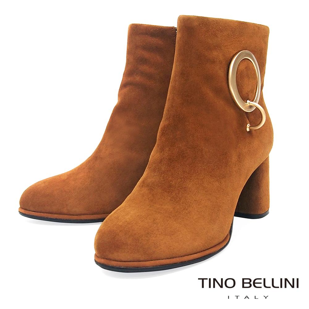Tino Bellini 睛亮大圓釦真皮麂皮中跟短靴 _ 棕