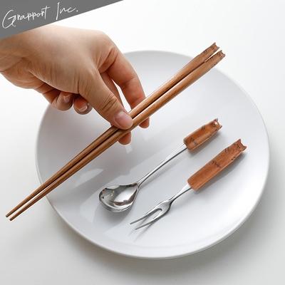 GRAPPORT 日本製Fluffy系列天然木筷子/湯匙/叉子3件組-虎紋貓咪款
