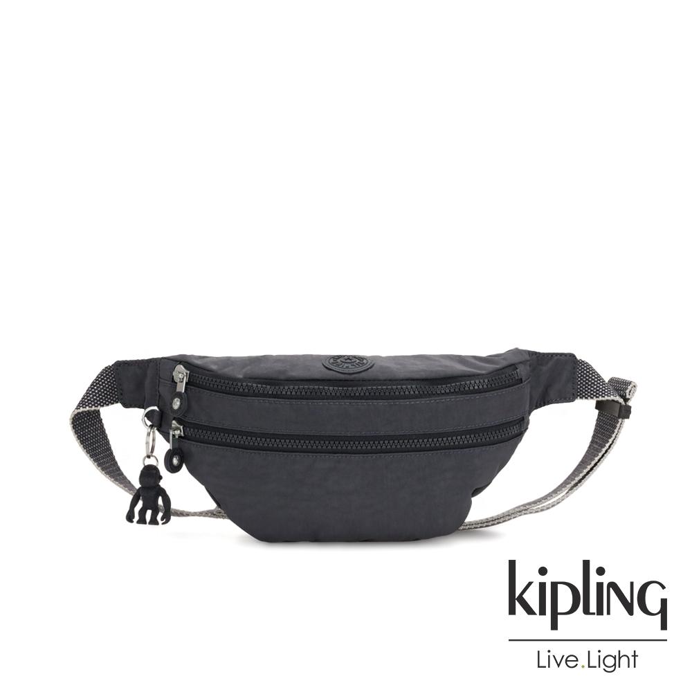 Kipling 都會簡約霧灰色雙拉鍊輕潮流斜背腰包-SARA