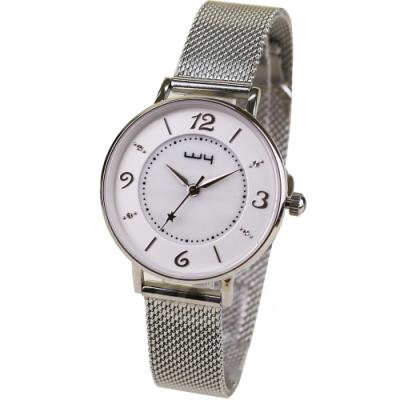 WY威亞 探索視界米蘭銀帶錶-白盤銀針