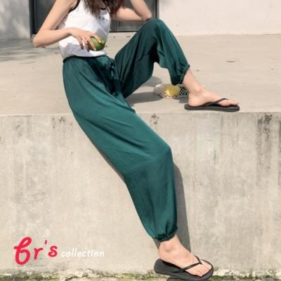 【brs】冰絲涼爽高腰垂墜風束腳燈籠褲-5色