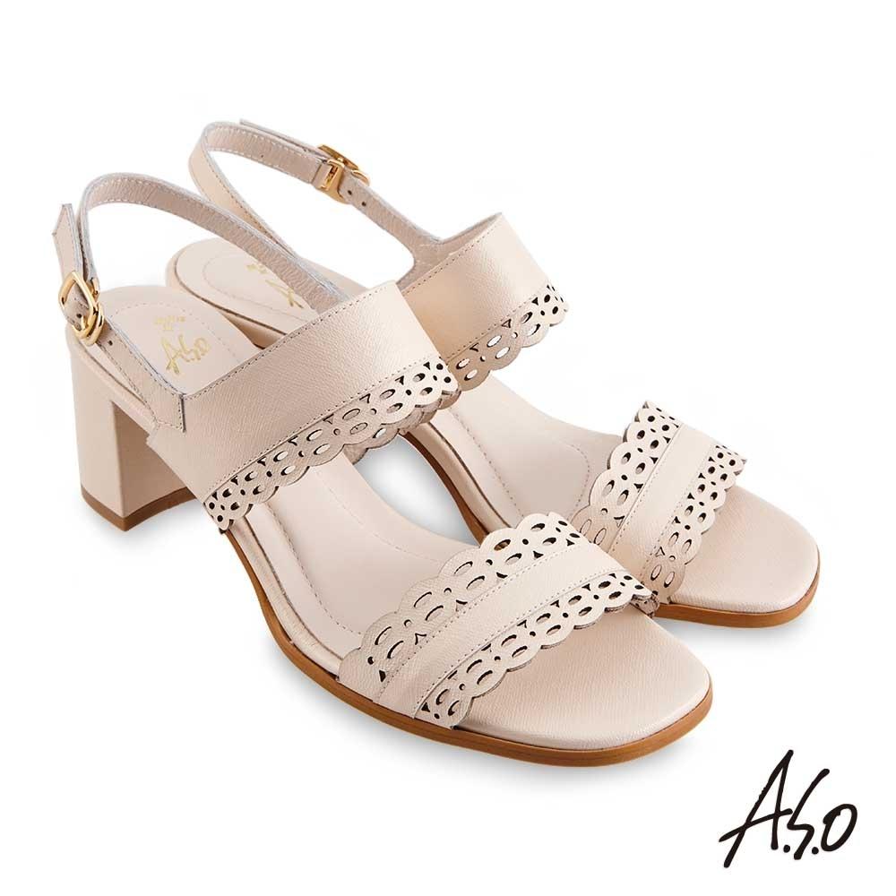 A.S.O 時尚流行 健步美型精緻鏤空線條粗跟涼鞋-米