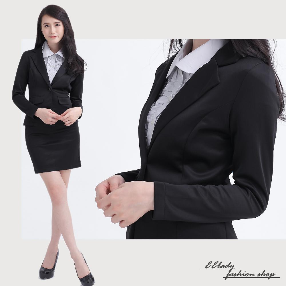 EELADY中大碼-彈性單扣長袖外套+西裝裙套裝