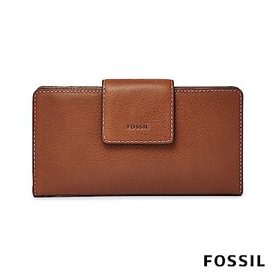FOSSIL EMMA 真皮薄型長夾-咖啡色