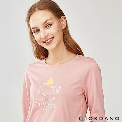 GIORDANO 女裝趣味動物印花長袖T恤-03 莓紅