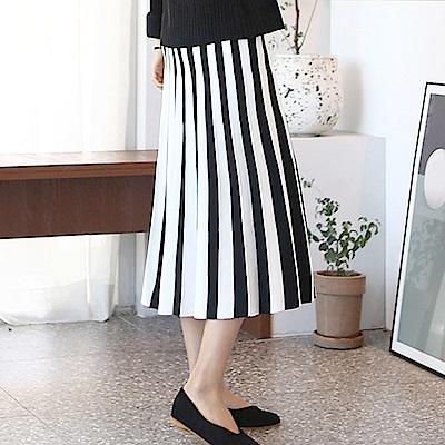正韓 束腰撞色條紋百褶針織長裙 (黑色)-N.C21