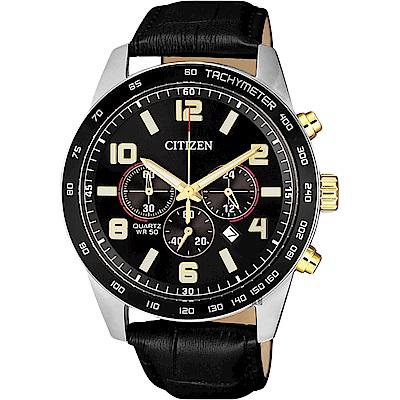 CITIZEN 星辰 Chronograph 限量計時手錶-黑/44mm