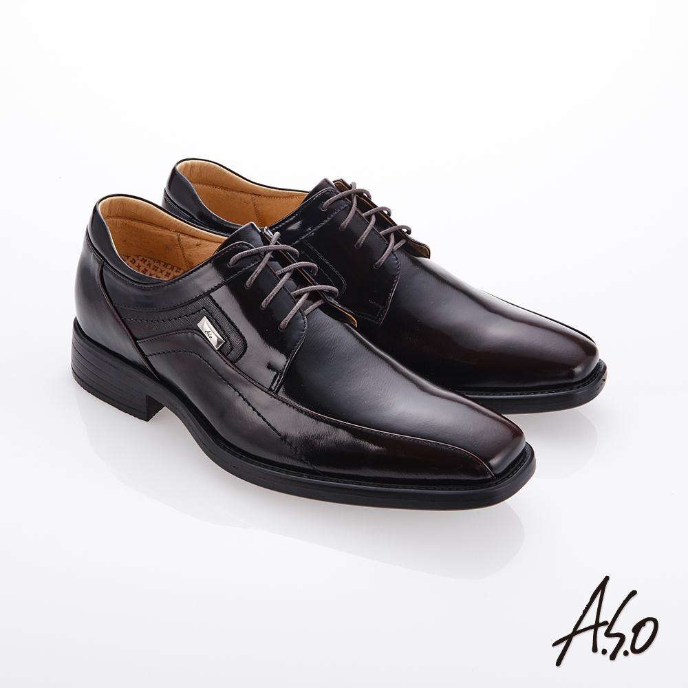 A.S.O霸足氣墊 綁帶鏡面牛皮紳士鞋 酒紅