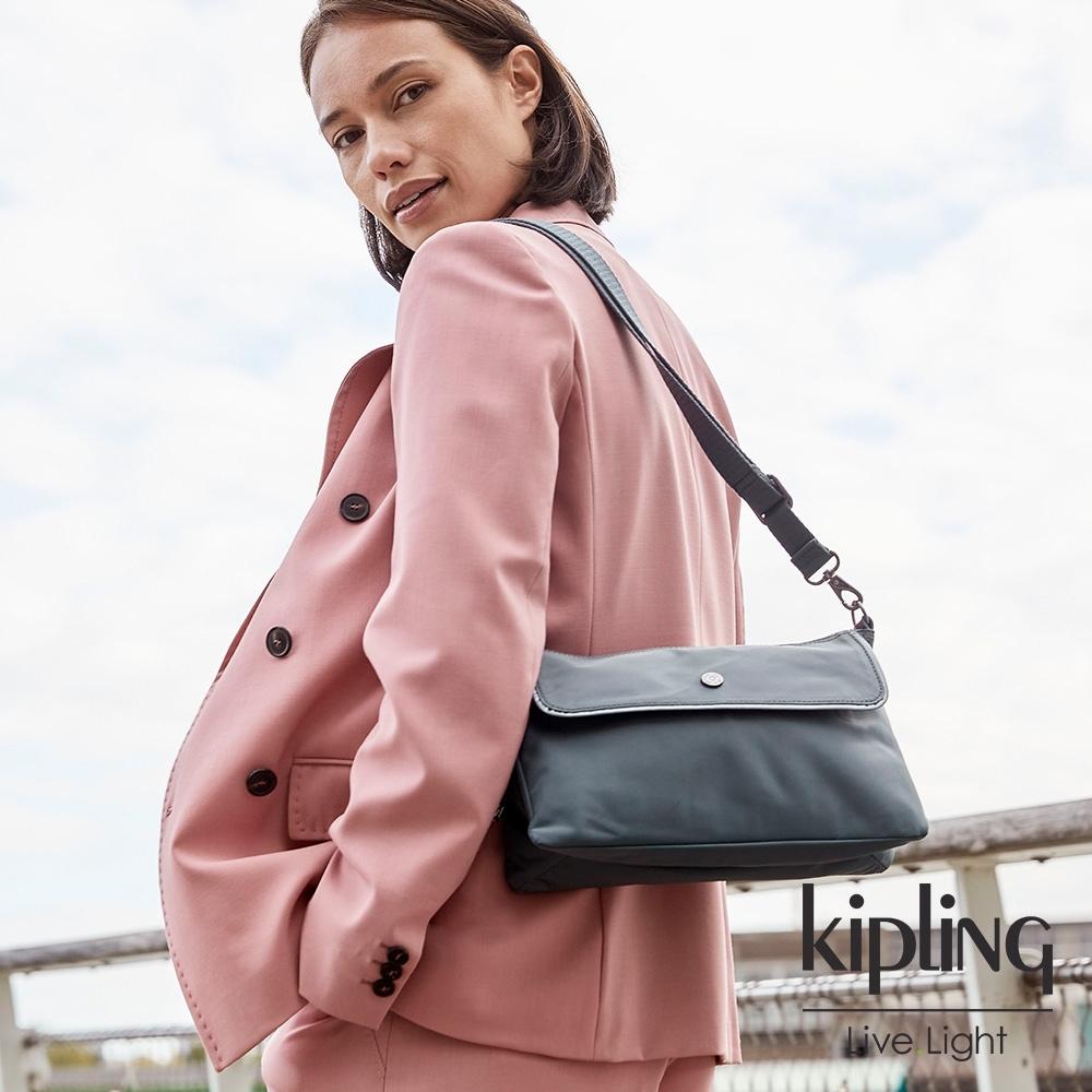 Kipling 典雅石灰藍前袋翻蓋單肩側背包-ETKA M