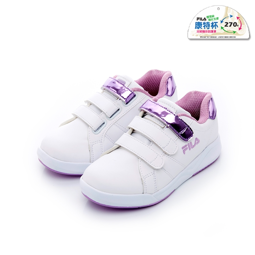 FILA KIDS 大童韓系復古鞋-白紫 3-C810T-199