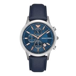 EMPORIO ARMANI 冷都時尚三眼腕錶-藍(AR11216)/43mm