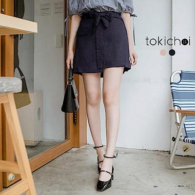 東京著衣 簡約休閒假口袋裝飾短裙-S.M(共二色)