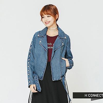 H:CONNECT 韓國品牌 女裝-翻領造型牛仔外套-藍