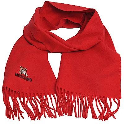 MOSCHINO 義大利製美麗諾羊毛小熊圖騰字母LOGO刺繡圍巾(紅色)