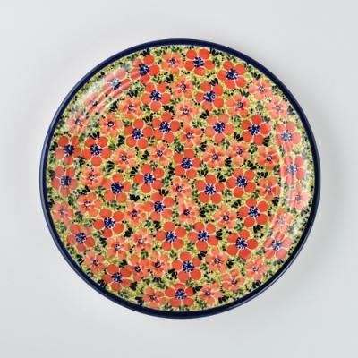 波蘭陶 繁花艷野系列 圓形餐盤 25cm 波蘭手工製