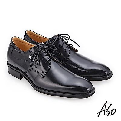 A.S.O 3D超動能 經典熱銷真皮鞋 黑
