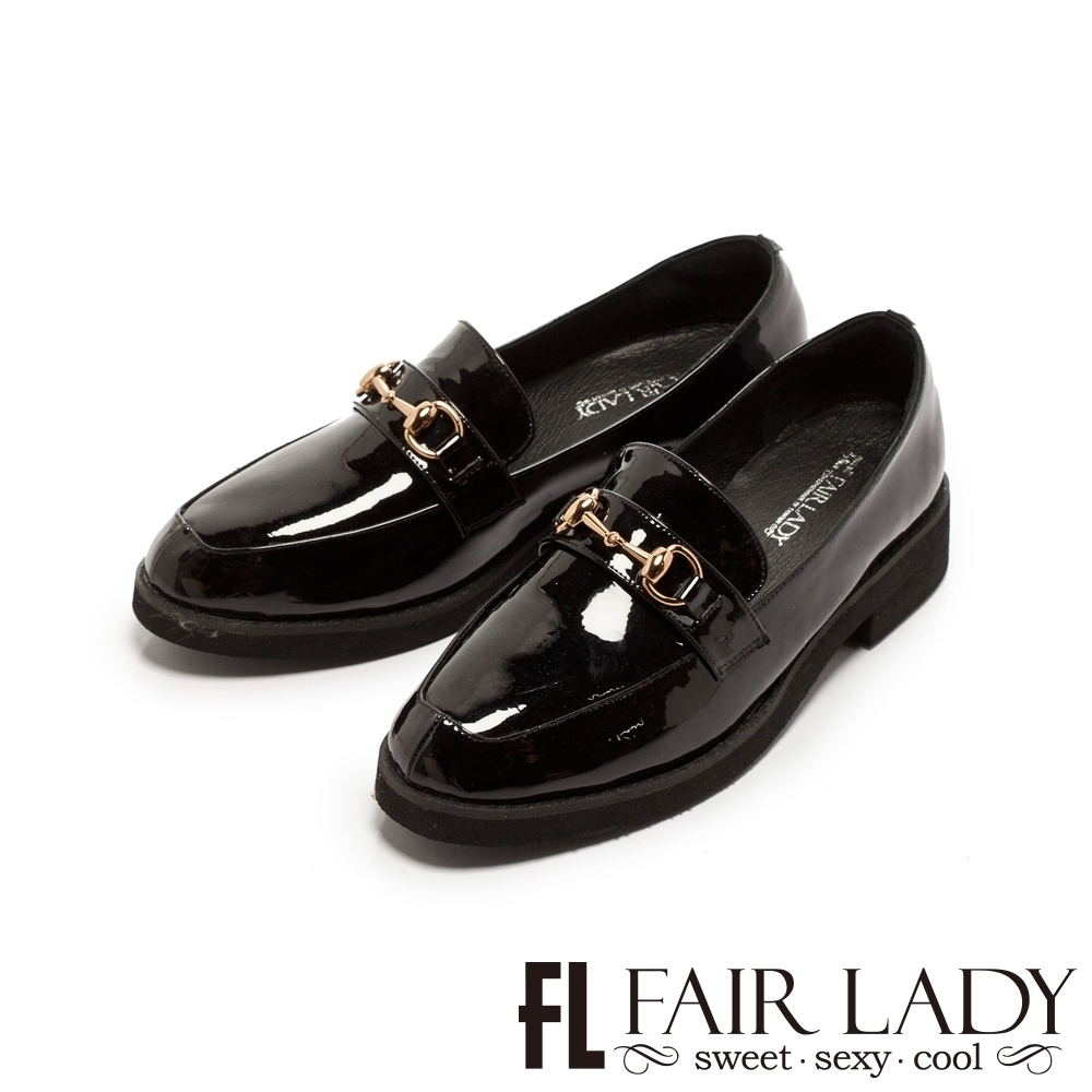 FAIR LADY 小時光金屬馬銜釦漆皮厚底樂福鞋 黑