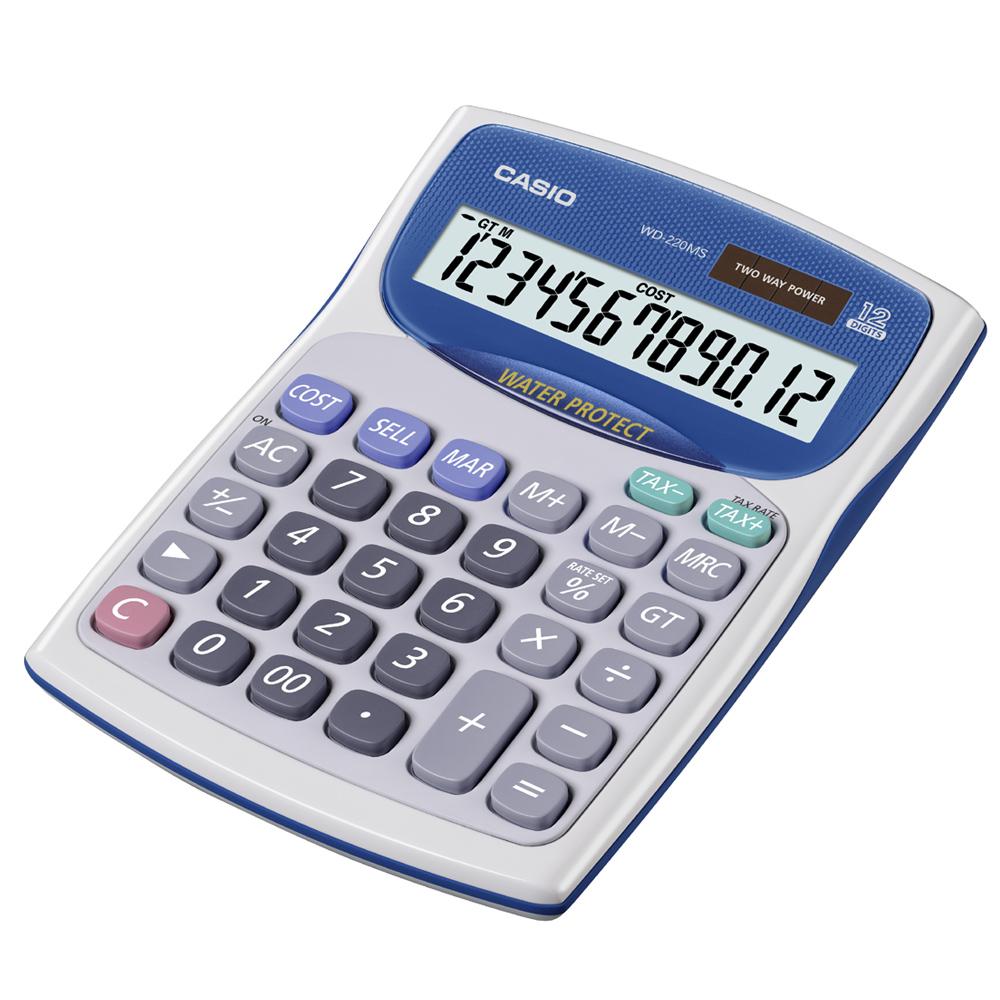 CASIO卡西歐 防水防塵12位數計算機WD-220MS-WE 白