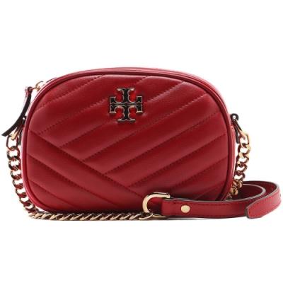 TORY BURCH KIRA CHEVRON 小款 絎縫羊皮相機包(紅色)
