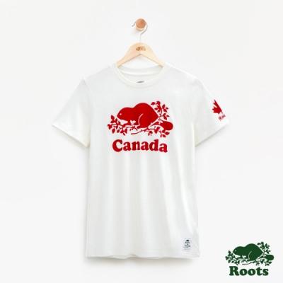 女裝Roots加拿大系列-海狸短袖T恤-白