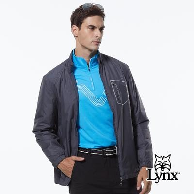 【Lynx Golf】男款薄鋪棉防風保暖暗紋胸袋拉鍊設計長袖外套-灰色