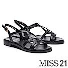 涼鞋 MISS 21 簡約率性流線造型繫帶牛皮厚底涼鞋-黑