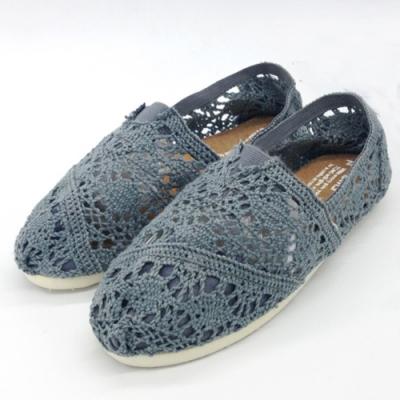 KEITH-WILL時尚鞋館 (現貨+預購) 花樣年華蕾絲鉤花鏤空懶人鞋-灰