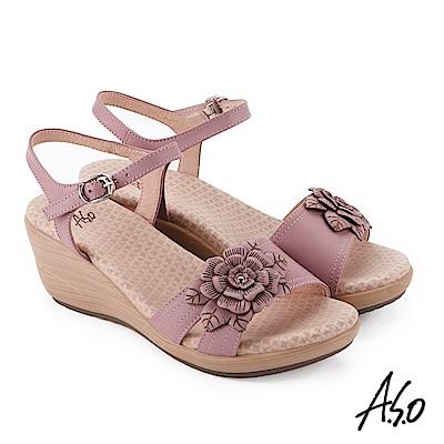 A.S.O 挺麗氣墊 立體花卉全真皮抗菌奈米鞋墊楔型涼鞋 粉紅