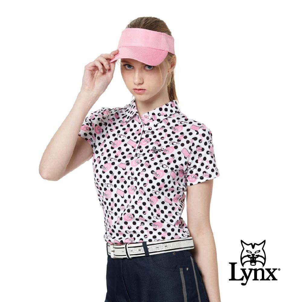 【Lynx Golf】女款吸濕排汗抗UV純棉雙絲光水玉印花短袖POLO衫-白色