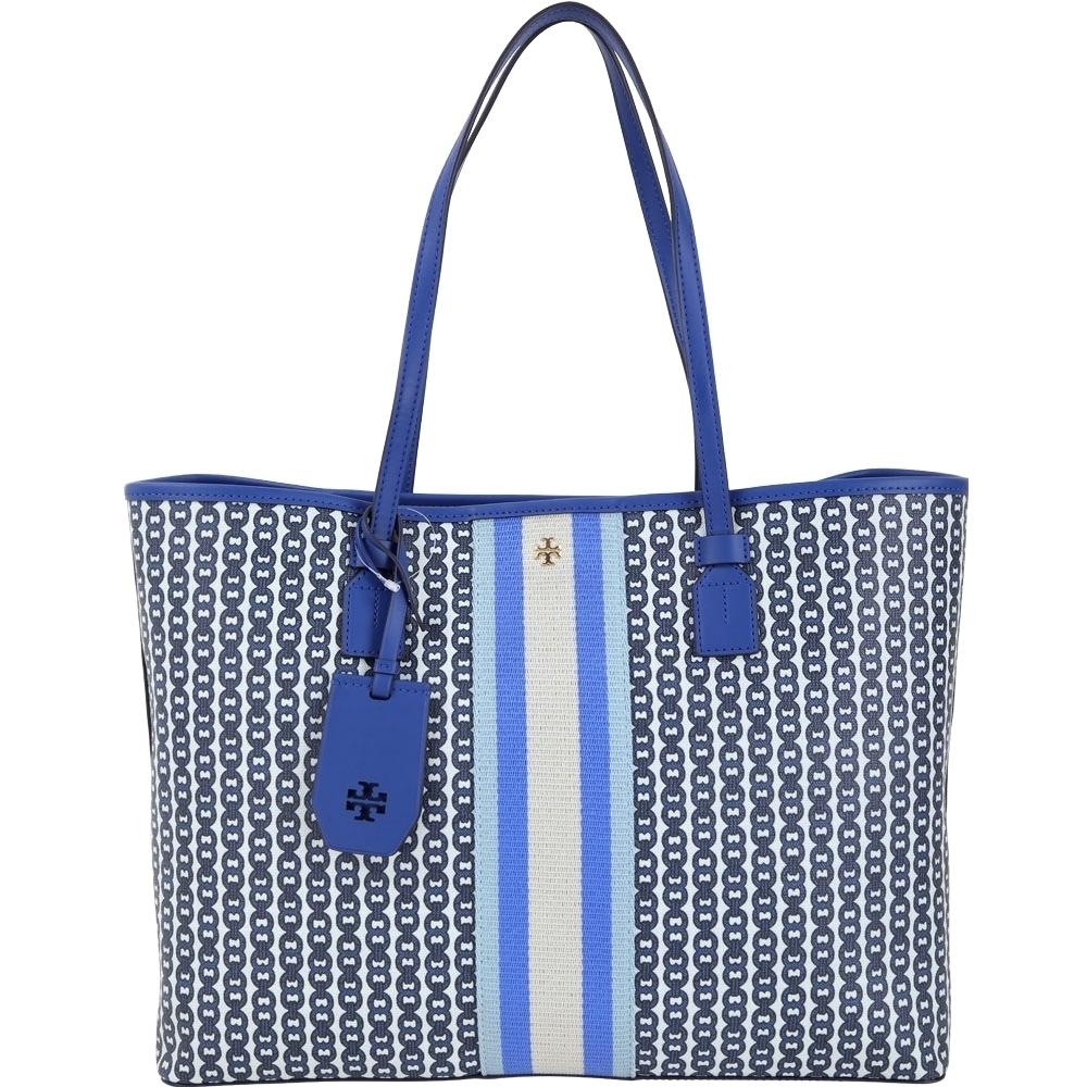 TORY BURCH GEMINI LINK CANVAS 塗層帆布托特包(藍色/新款)