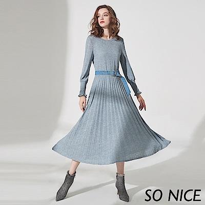 SO NICE俏麗牛仔腰帶百褶洋裝