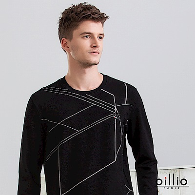歐洲貴族 oillio 長袖T恤 幾何線條 電腦刺鏽 黑色