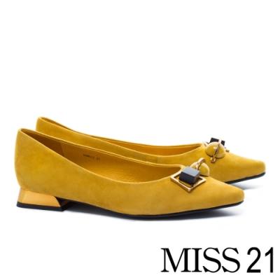 跟鞋 MISS 21 復古星空系飾釦造型羊麂皮尖頭低跟鞋-黃