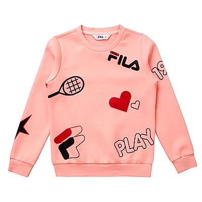 FILA KIDS 童長袖針織上衣-粉紅 5TES-8412-PK