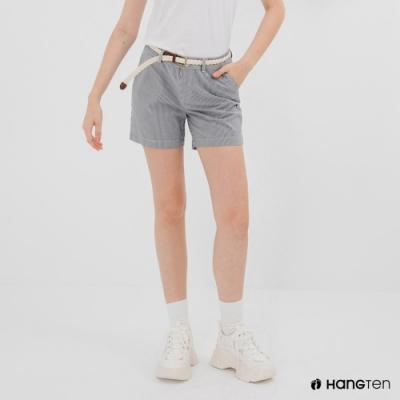 Hang Ten-女裝-REGULAR FIT條紋緹花附腰帶短褲-黑白條紋
