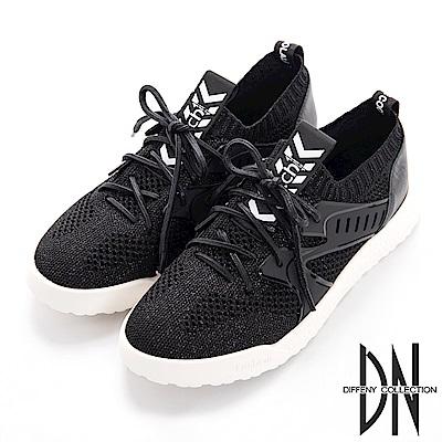 DN 針織透氣 異材質拼接織布休閒鞋-黑