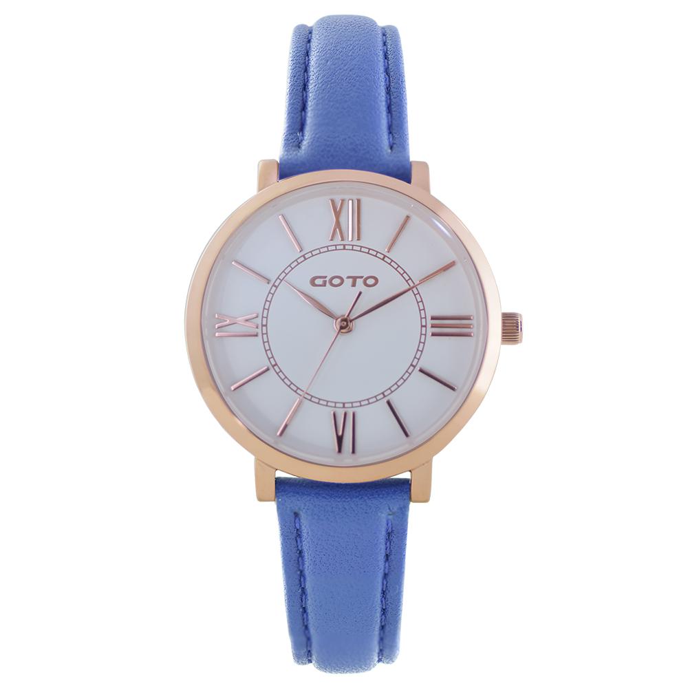 GOTO浪漫小資女精品時尚手錶-IP玫白x藍/33mm