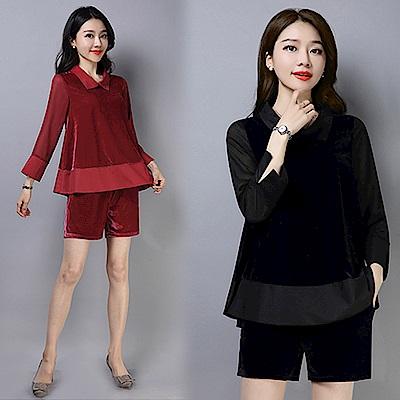 【韓國K.W.】襯衫立領雪紡拼薄絨二件式套裝-2色
