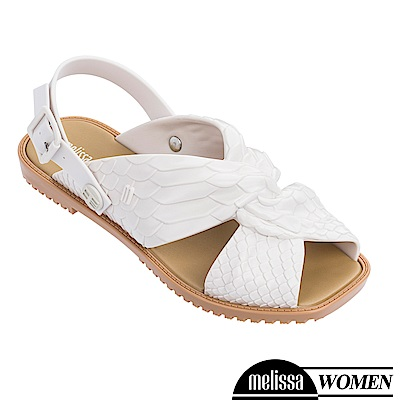 Melissa+Baja East 蟒蛇凸紋質扭結造型涼鞋-白