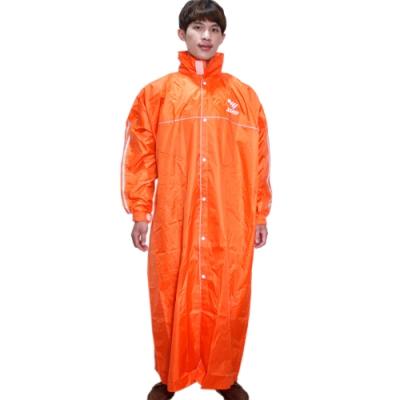 JUMP第二代優雅前開休閒風雨衣-橘色+通用鞋套-快