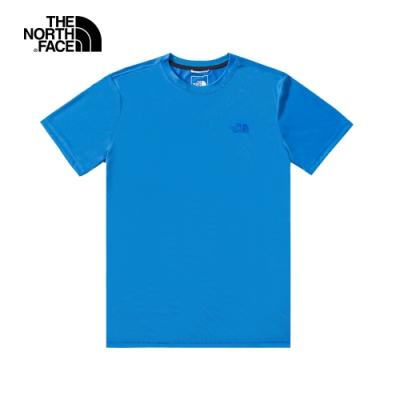The North Face北面男款藍色吸濕排汗短袖T恤 4NCRW8G