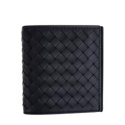BOTTEGA VENETA 經典編織小羊皮直立式摺疊短夾 (黑色)